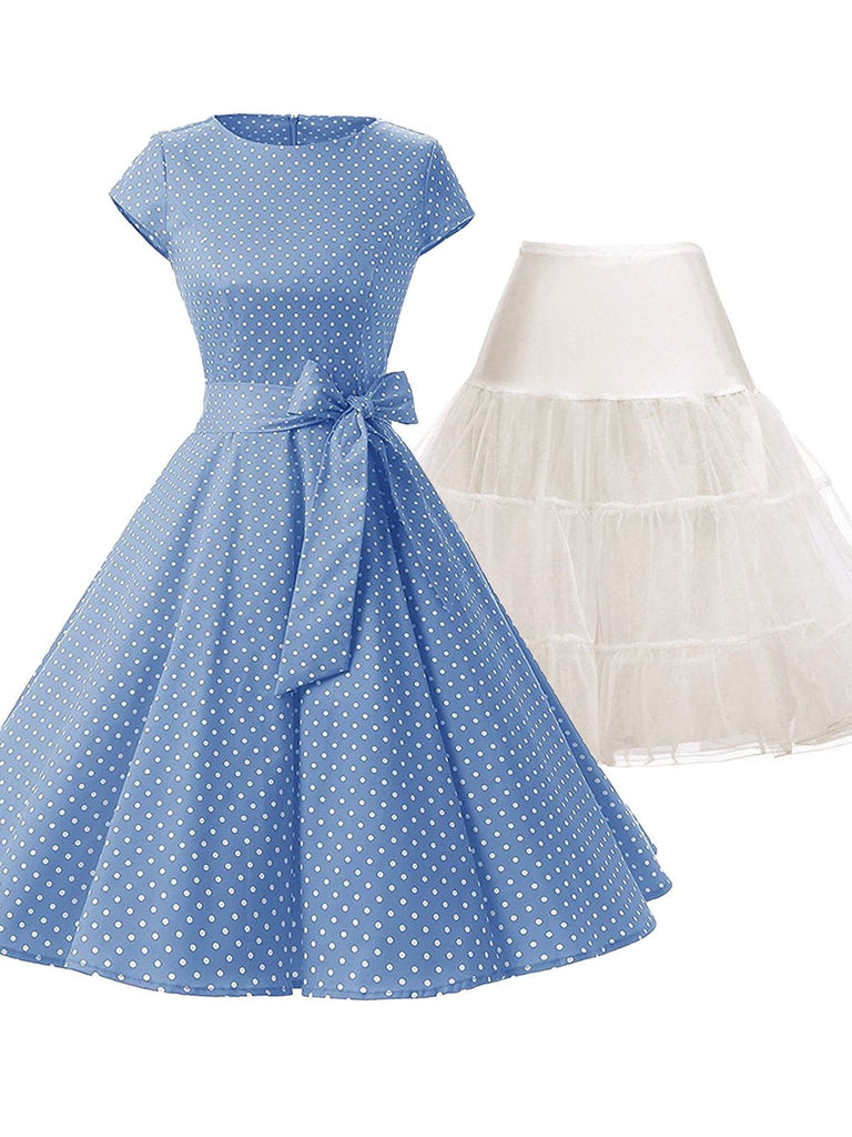2PCS Blue Polka Dot 1950s Dress & White Petticoat