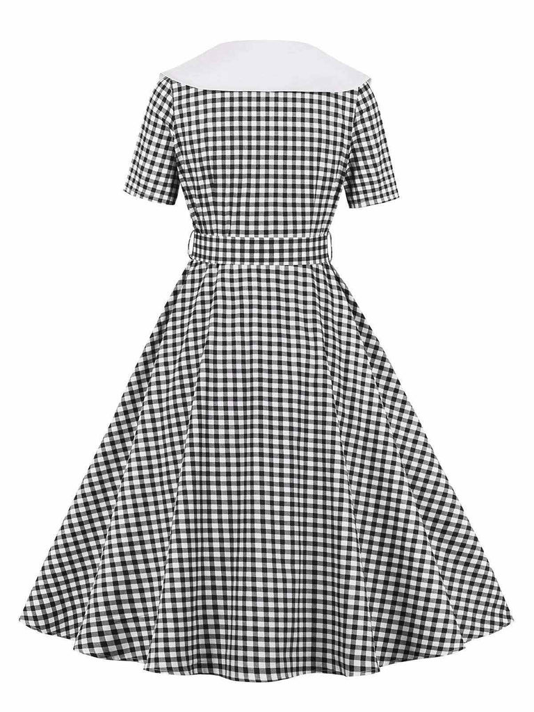 1950s Plaid Button Belt Swing Dress