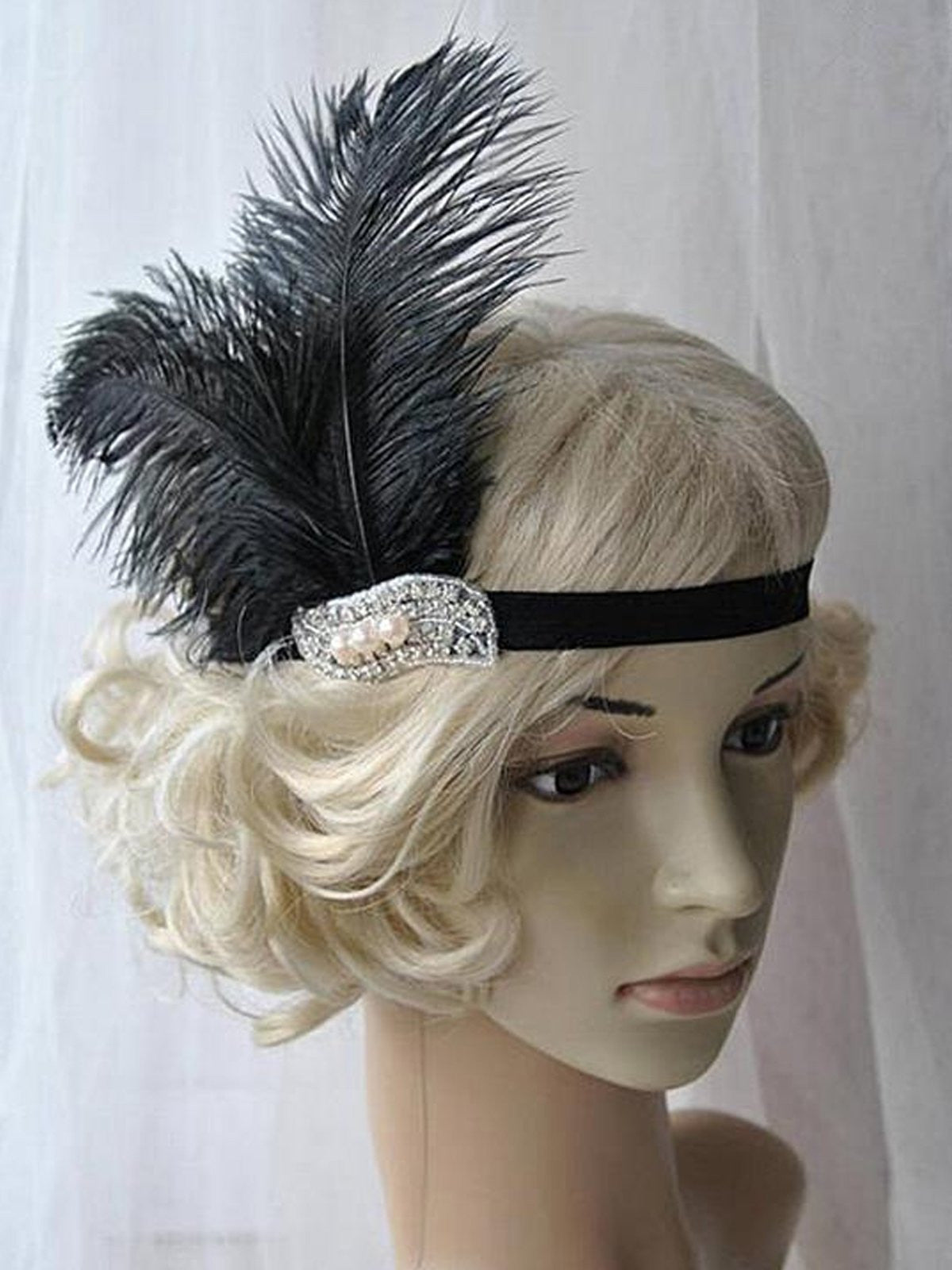 Black 1920s Feather Flapper Headband Retro Stage Chic