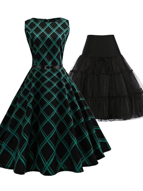 2PCS Top Seller Plaid 1950s Dress & Black Petticoat
