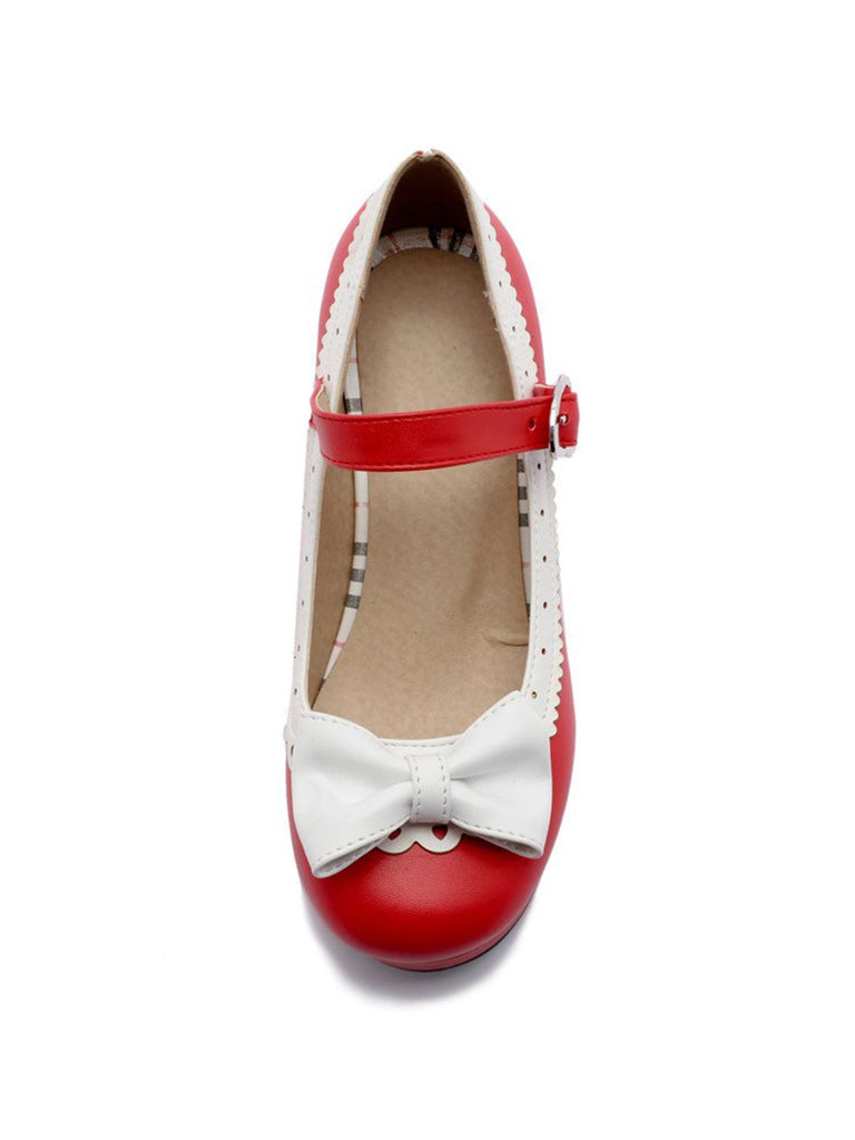 Retro Bow Non-slip High Heel Shoes
