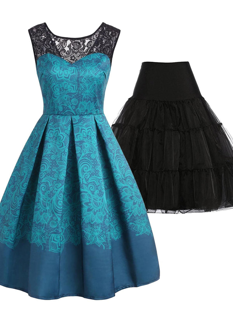2PCS Blue 1950s Dress & Black Petticoat
