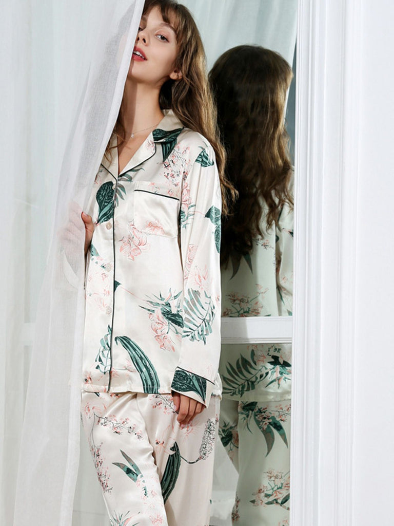 Floral Trimmed Silk Pajamas Set