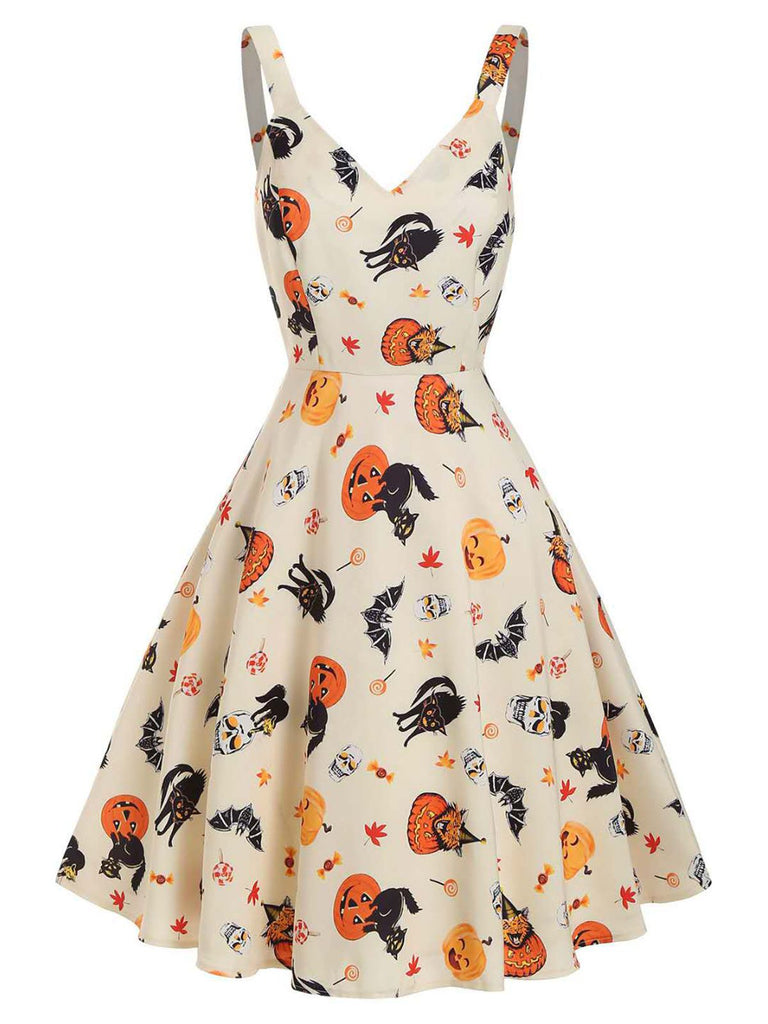 Beige 1950s Halloween Cap Costume Dress