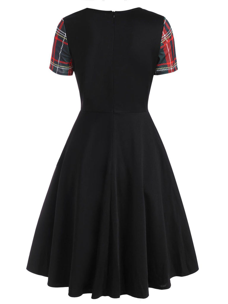 Black 1950s Plaids Bow Swing Dress