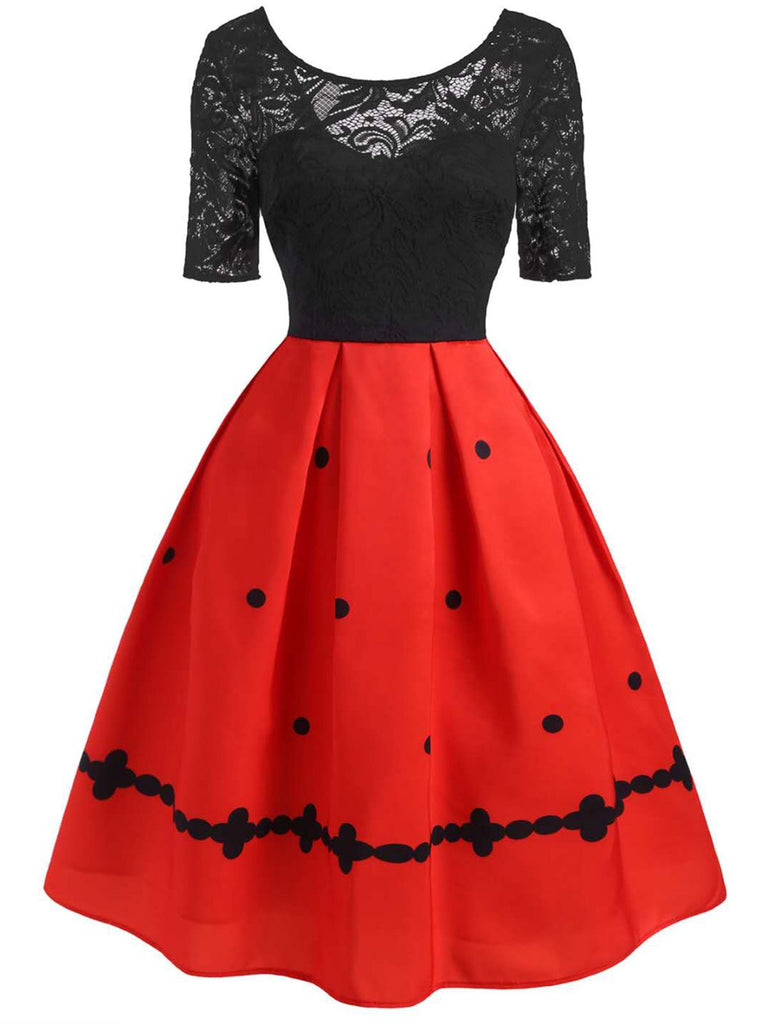 Red 1950s Patchwork Swing Dress
