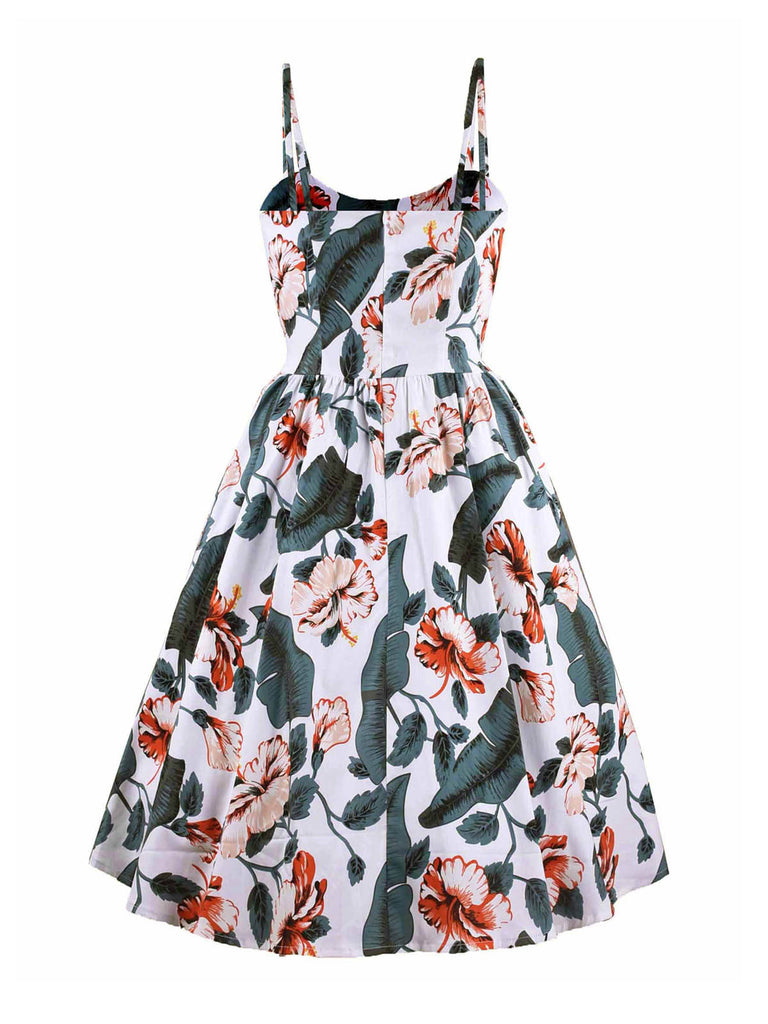 White 1950s Floral Leaf Swing Dress