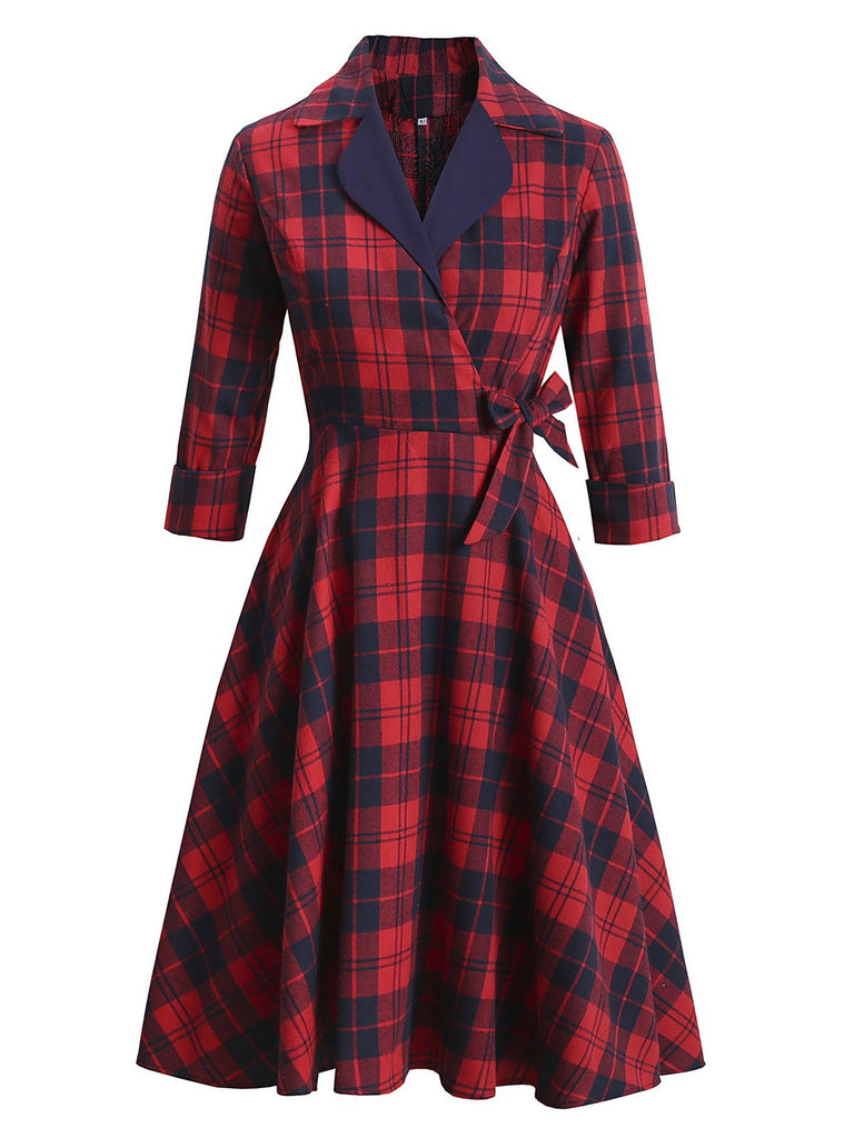 Red 1950s Notched Plaids Swing Dress