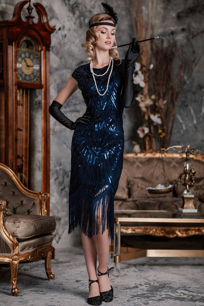 2PCS Top Seller Blue 1920s Dress & Accessories Set
