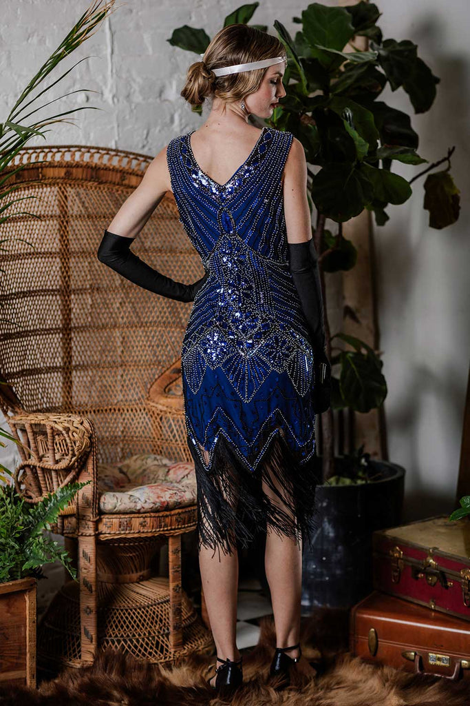 Blue 1920s Beaded Fringed Flapper Dresses
