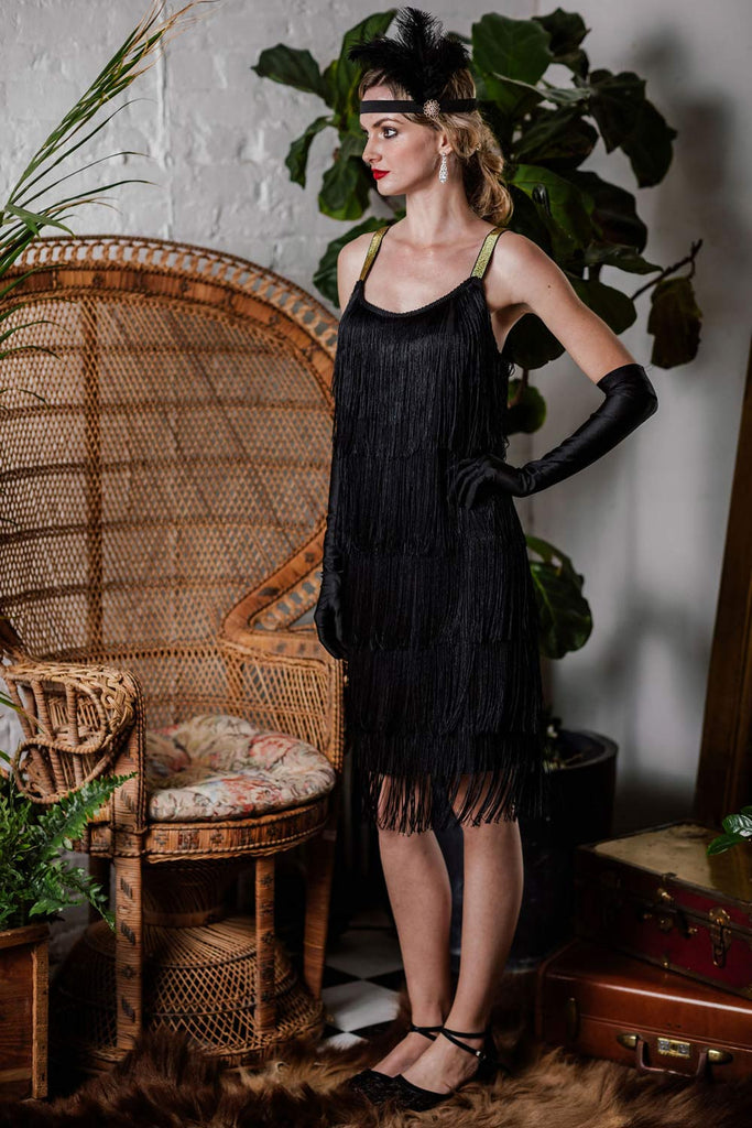 US Only Belted Black 1920s Fringe Gatsby Dress