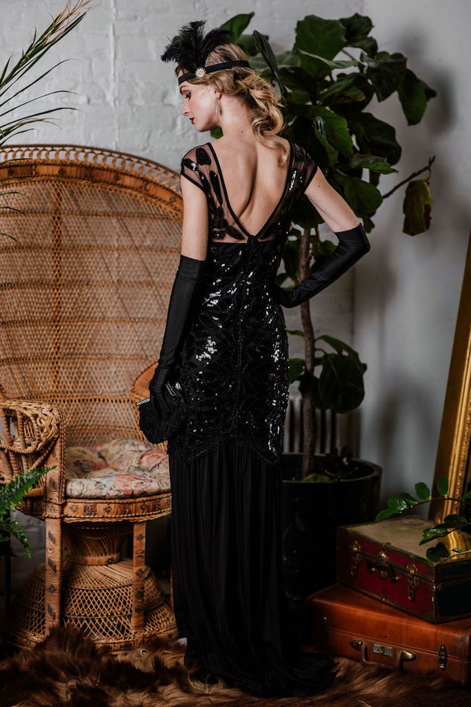 US Only Black 1920s Sequin Maxi Flapper Dress