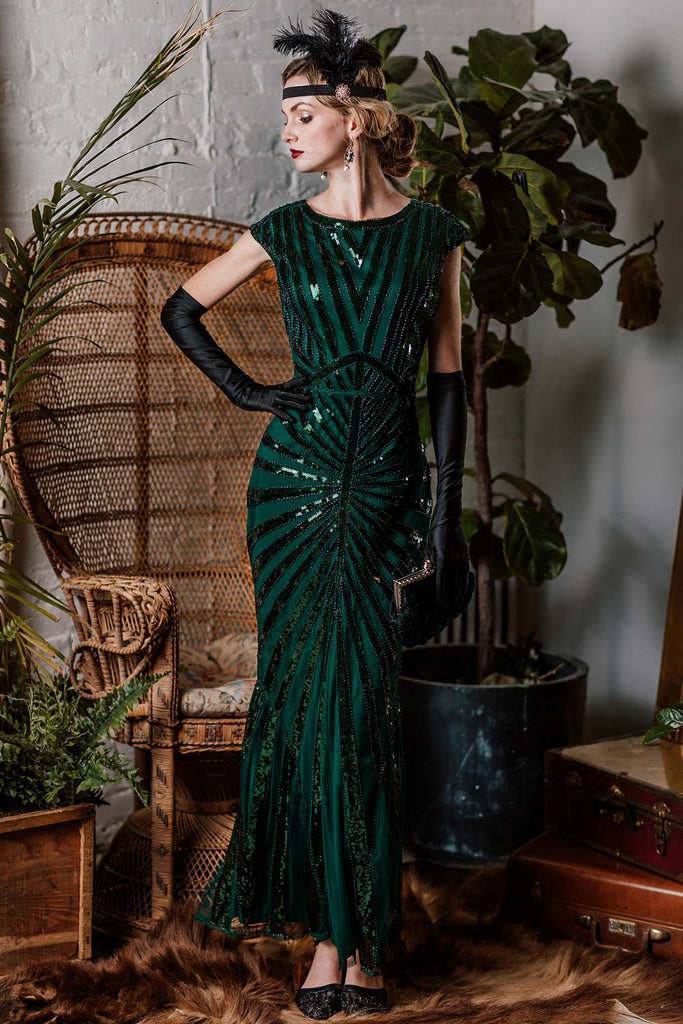 Green 1920s Sequin Art Deco Maxi Dress