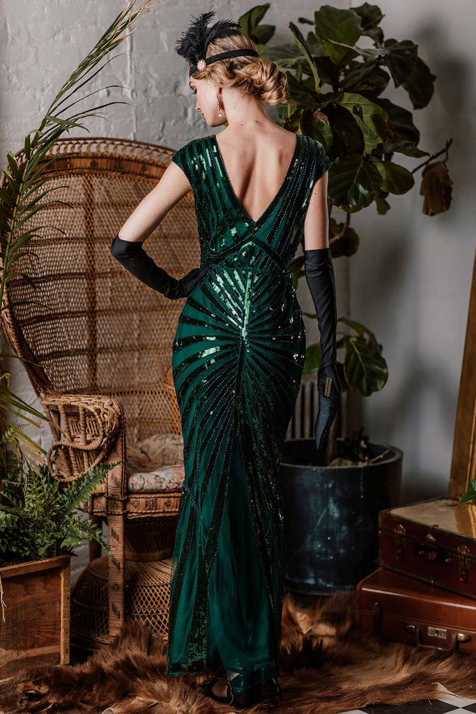 US Only Green 1920s Sequin Art Deco Maxi Dress