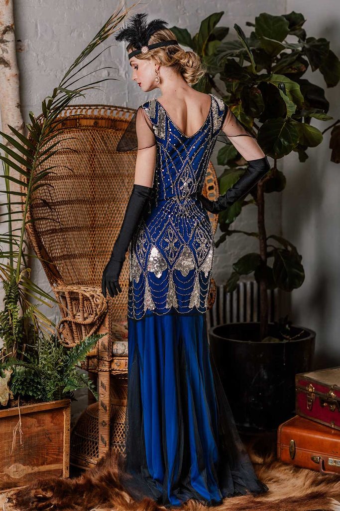 US Only Blue 1920s Sequined Maxi Flapper Dress