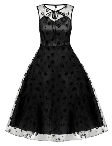 Black 1950s Mesh Lace Swing Dress