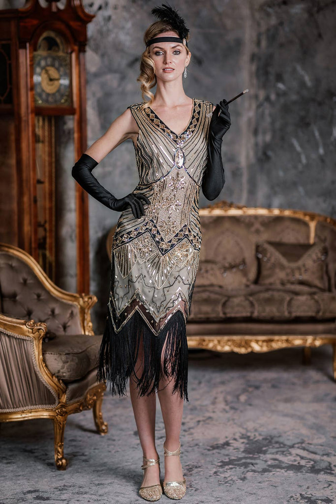 US Only Champagne 1920s Sequined Flapper Dress