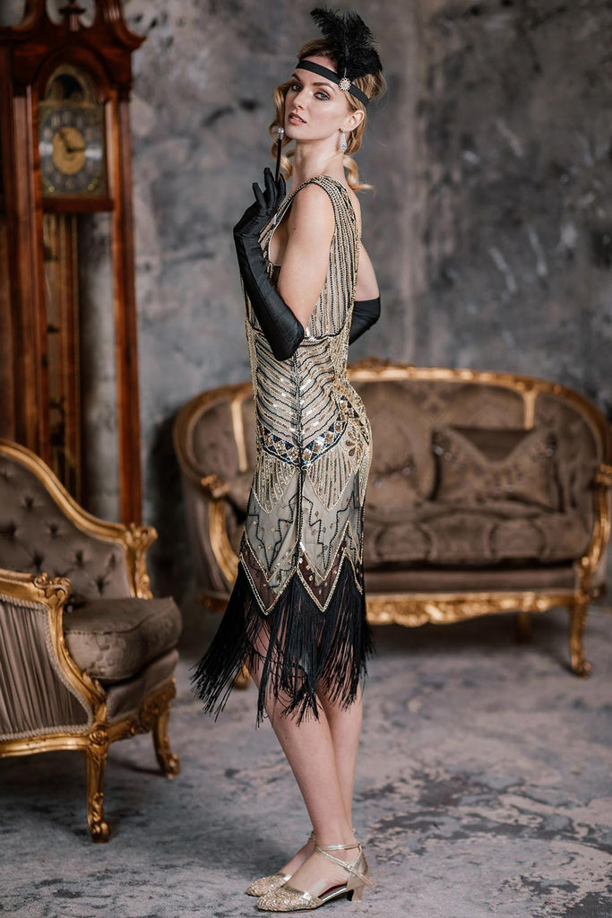Champagne 1920s Sequined Flapper Dress