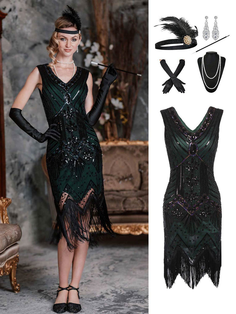 2PCS Top Seller Dark Green 1920s Dress & Accessories Set