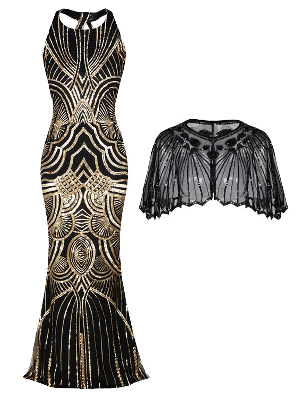 2PCS Backless 1920s Dress & Black Cape