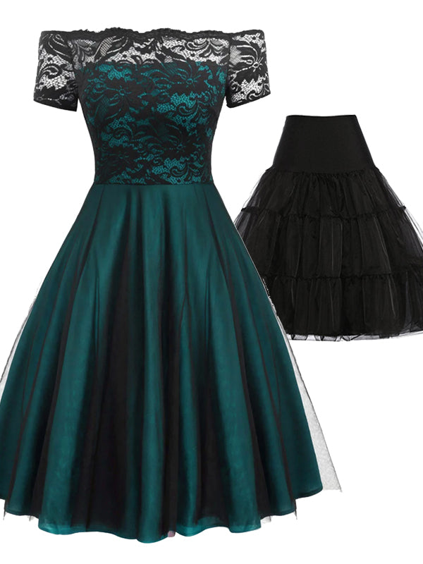 2PCS Off Shoulder 1950s Dress & Black Petticoat