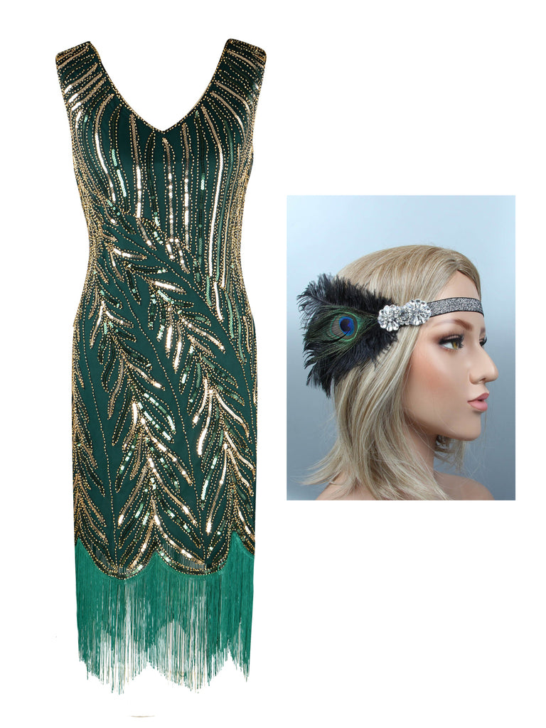 2PCS 1920s Sequined Flapper Dress & Headband