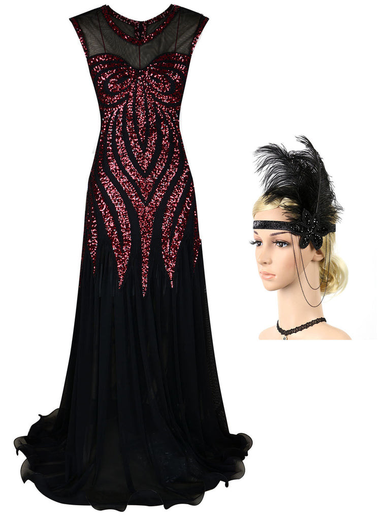 2PCS Sequined Maxi 1920s Dress & Headband