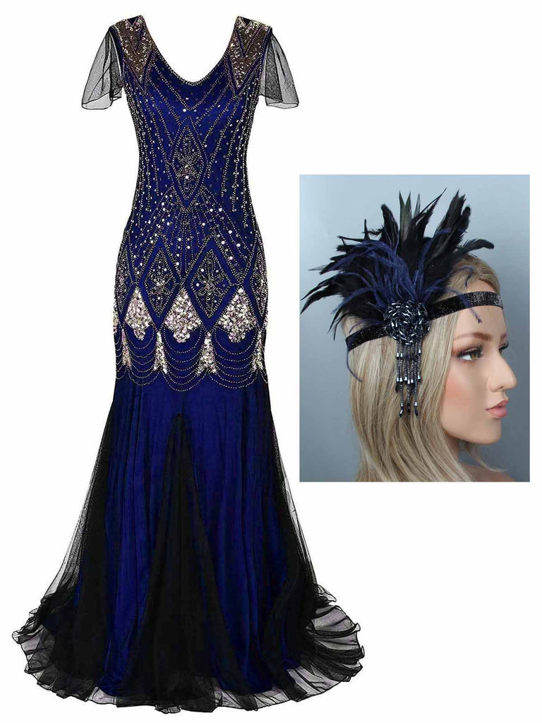2PCS 1920s Sequined Maxi Flapper Dress & Headband