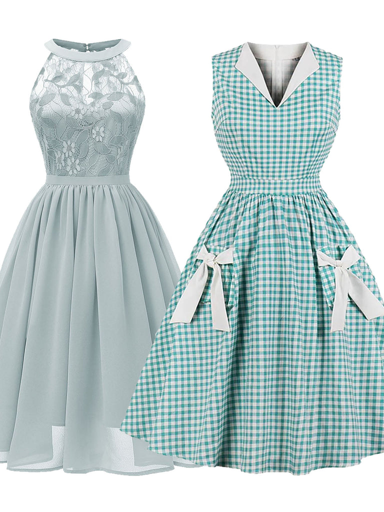 2PCS Lace Floral & Plaid Bow 1950s Dresses