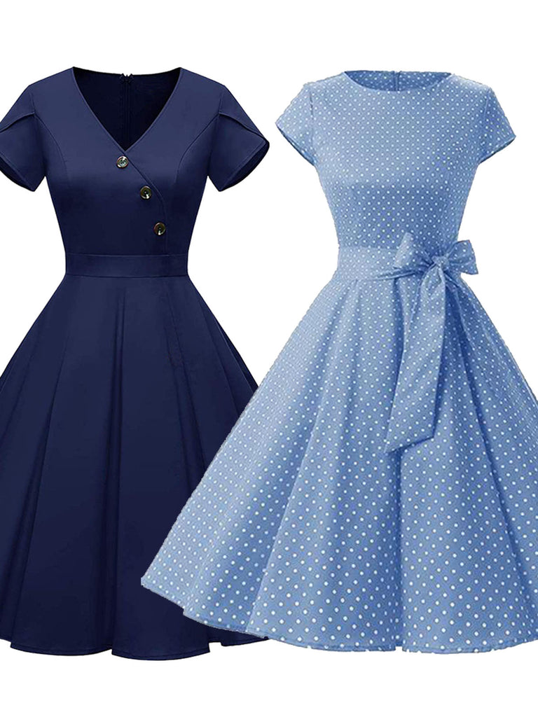 2PCS Navy Blue Button & Polka Dot 1950s Dresses