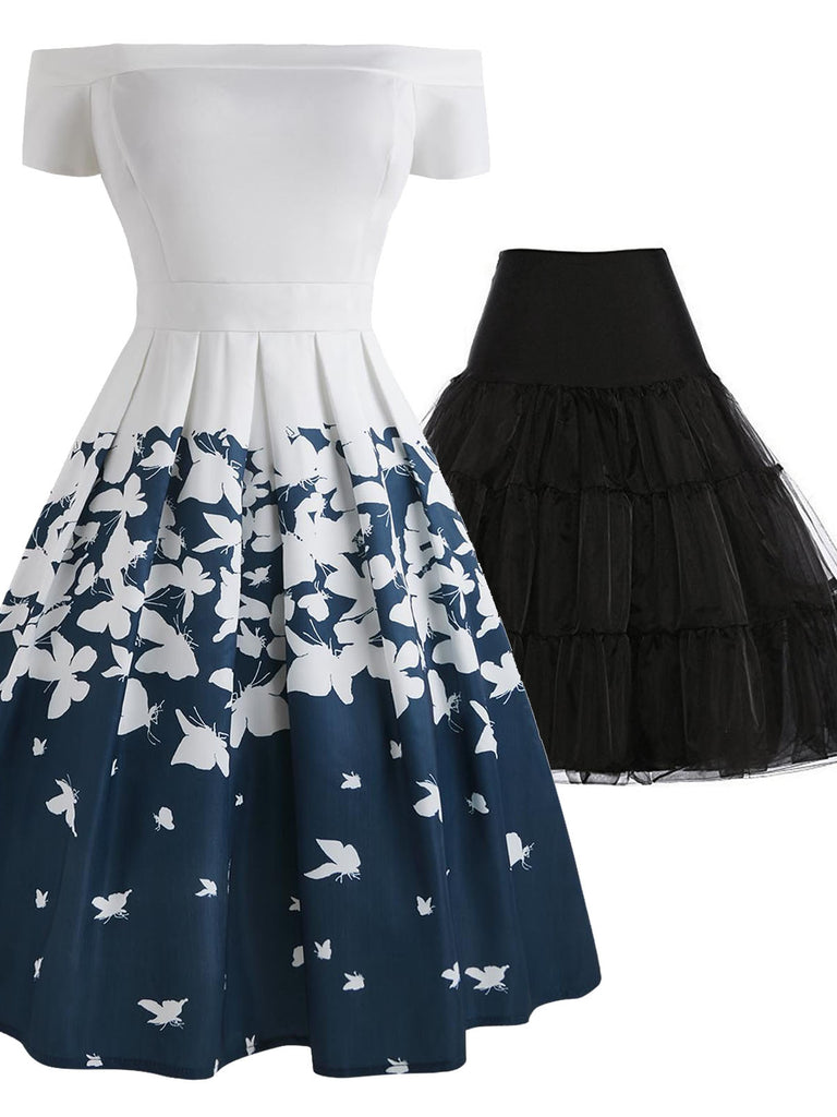 2PCS 1950s Butterfly Off Shoulder Dress & Black Petticoat