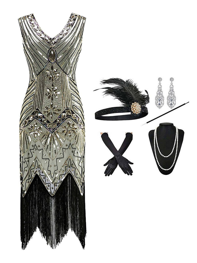 2PCS Top Seller Champagne 1920s Dress & Accessories Set