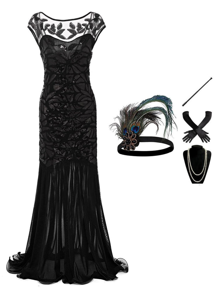 2PCS Top Seller Maxi 1920s Dress & Accessories Set