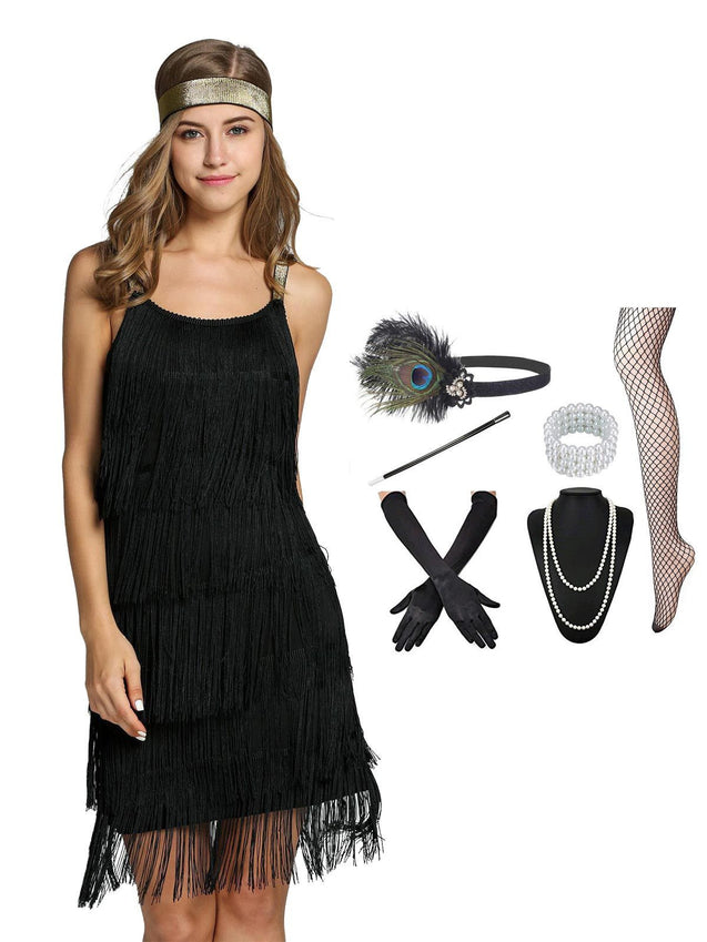 2PCS Top Seller Belted 1920s Dress & Accessories Set