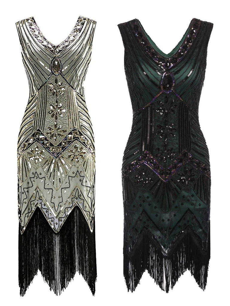 2PCS Top Seller 1920s Sequined Flapper Dress