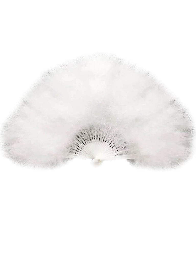 US Only Fluffy Feather Folding Hand Fan