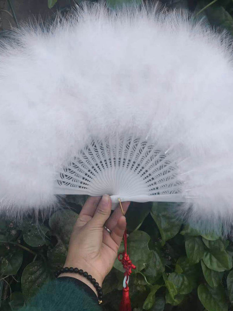 Fluffy Feather Folding Hand Fan