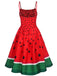 Red 1950s Watermelon Patchwork Dress