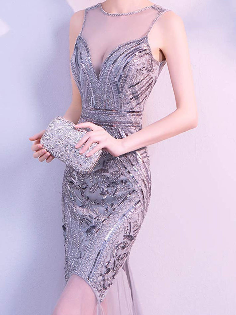US Only Gray 1920s Sequin Gatsby Long Dress
