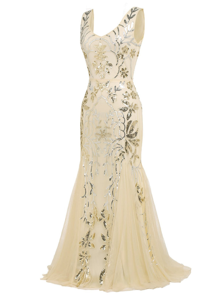 [US Warehouse] Apricot 1920s Sequin Maxi Dress