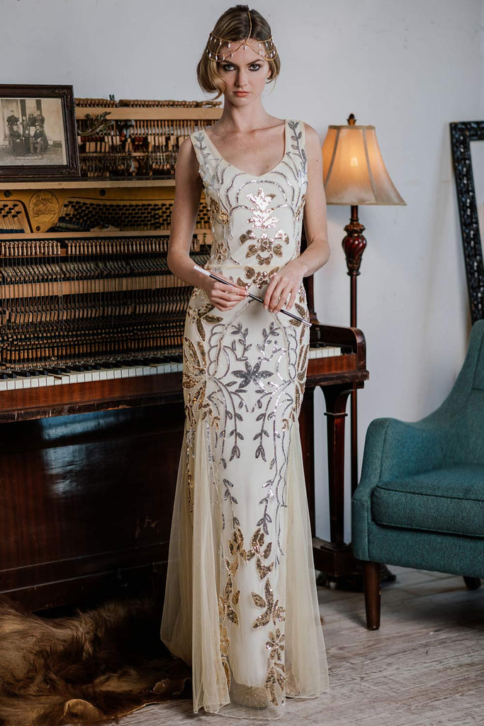 Apricot 1920s  Sequin Maxi Dress