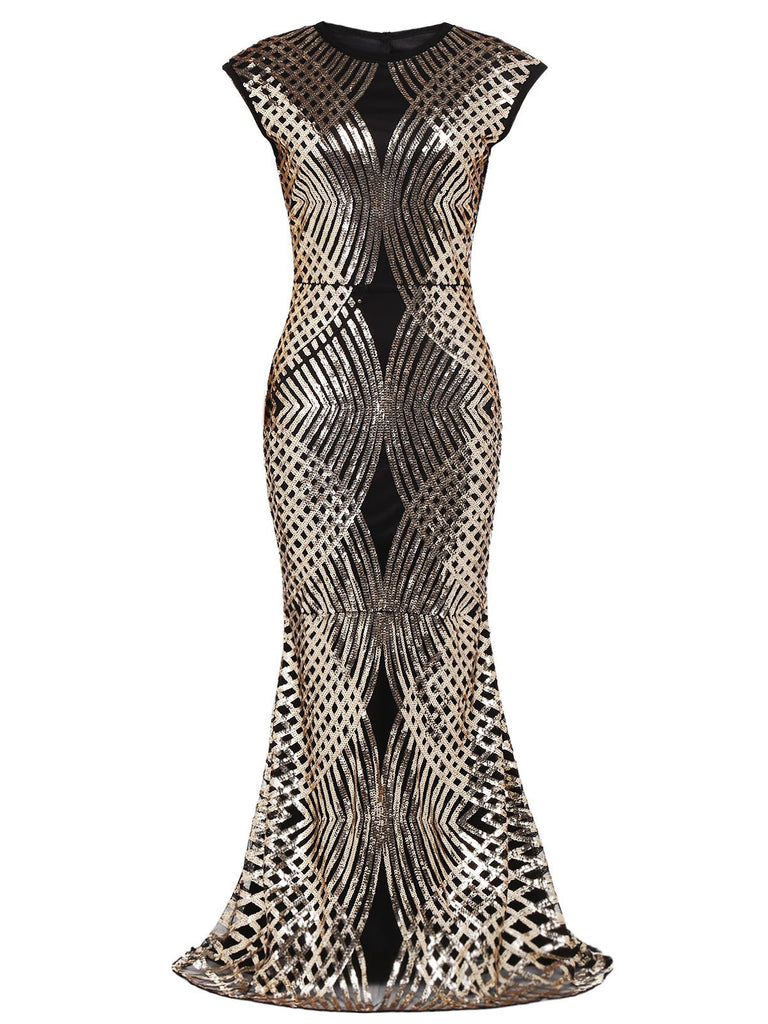 Gold 1920s Sequin Maxi Dress
