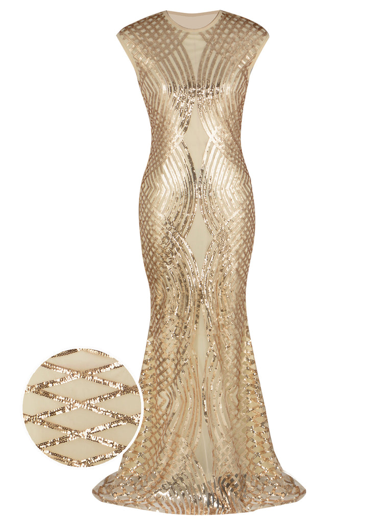 1920s Geometric Sequin Maxi Dress