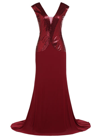 Wine red 1920s Sequin Maxi Dress