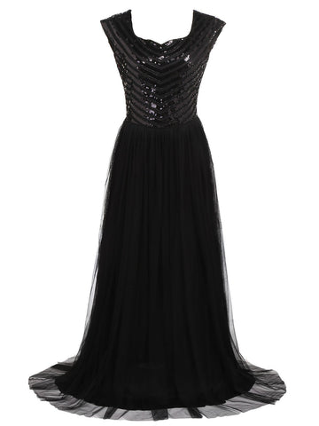 Black 1920s Sequin Maxi Dress
