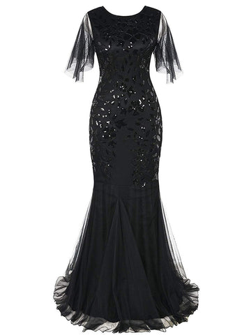 1920s Sequin Maxi Gowns Dress