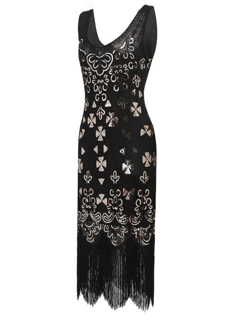US Only Gold 1920s Sequin Flapper Dress