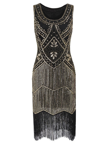Gold 1920s Sequin Fringe Flapper Dress