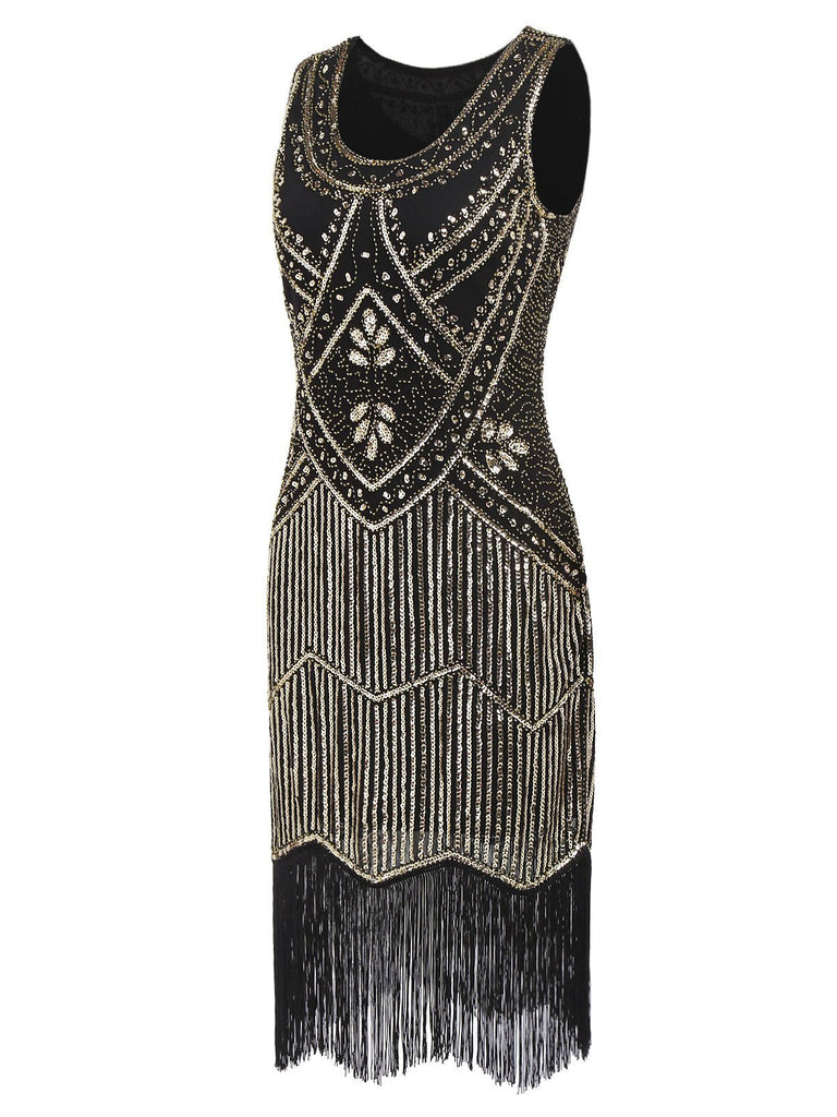 Gold 1920s Sequin Flapper Dress