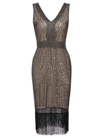 Apricot 1920's Sequin Fringe Flapper Dress